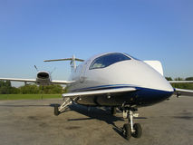 Piaggio Avanti aircraft. A Piaggio Avanti aircraft from an unusual viewpoint Stock Photo