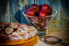 Pialat с сливами, торт сливы с напудренным сахаром, стрейнером металла Стоковая Фотография RF