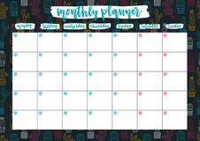 Piallatrice mensile sveglia per 2019 anni sul fondo dei cactus Progettazione aperta pronta del calendario della data della stampa illustrazione di stock