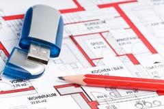 Disegno tecnico di usb illustrazione vettoriale for Programma di disegno della casa libera