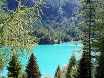 Pian palú. Turquoise dam in Italy mountains Royalty Free Stock Photo