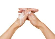 Piana mydła i kobiety ręki obraz royalty free