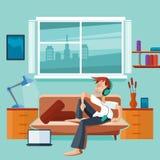 Pianamente interno con l'uomo sul sofà royalty illustrazione gratis