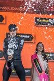 Piancavallo, Италия 26-ое мая 2017: Mikel Landa, команда неба, празднует на подиуме его победу Стоковые Изображения