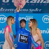 Piancavallo, Италия 26-ое мая 2017: Mikel Landa празднует на подиуме его победу Стоковая Фотография