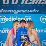 Piancavallo, Италия 26-ое мая 2017: Mikel Landa празднует на подиуме его победу Стоковая Фотография RF