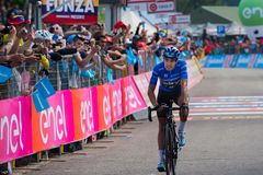 Piancavallo, Italy May 26, 2017: Mikel Landa, Sky Team, pass the finish line and win. S the mountain stage of Tour of Italy 2017 with arrival in Piancavallo Stock Photo