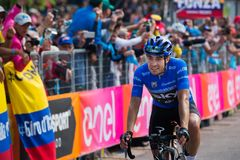 Piancavallo, Italy May 26, 2017: Mikel Landa, Sky Team, pass the finish line and win. S the mountain stage of Tour of Italy 2017 with arrival in Piancavallo Stock Photography