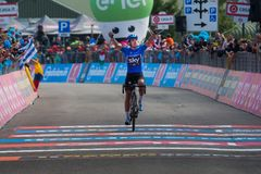 Piancavallo, Italy May 26, 2017: Mikel Landa, Sky Team, pass the finish line and wins. The mountain stage of Tour of Italy 2017 with arrival in Piancavallo Royalty Free Stock Images