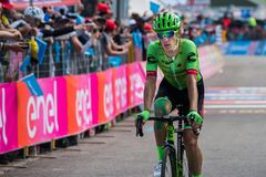 Piancavallo, Italy May 26, 2017: Professional Cyclist Pierre Rolland. Cannondale Team, exhausted passes the finish line after a hard montain stage of Tour of Royalty Free Stock Image