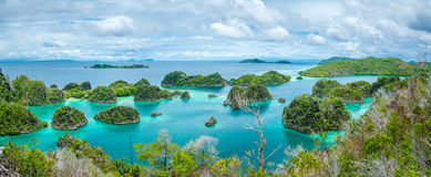 Pianemo Islands, Raja Ampat, West Papua, Indonesia. Pianemo Islands, Blue Lagoon with Green Rockes, Raja Ampat, West Papua. Indonesia stock image