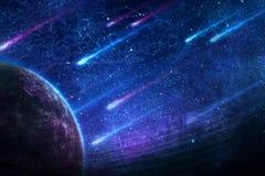 Pianeta astratto artistico con le comete che cadono in fondo royalty illustrazione gratis