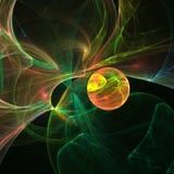 Pianeta astratto dell'arancia di frattale Tema dello spazio Generato da calcolatore Illustrazione Vettoriale