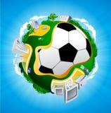 Illustrazione del pianeta di calcio Immagini Stock