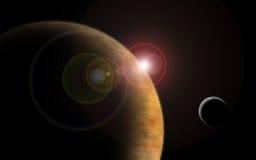 pianeta con il chiarore del sole nello spazio profondo Immagine Stock Libera da Diritti