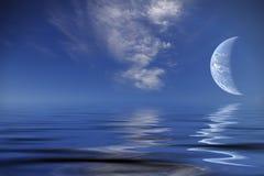 Pianeta del mondo sopra l'oceano illustrazione vettoriale