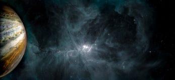 Pianeta del Plutone e fondo fantastico delle nuvole e delle stelle di galacy fotografia stock libera da diritti