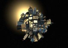 Pianeta della città nello spazio Immagine Stock