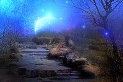 Pianeta della luna blu Fotografie Stock Libere da Diritti