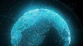 Pianeta della particella nello spazio di pendenza Fondo blu per la presentazione illustrazione di stock