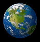 Pianeta della terra che caratterizza l'America del Nord sul nero Fotografia Stock