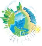 Pianeta di potenza verde di ECO illustrazione di stock