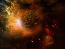 Pianeta e asteroide ardenti Immagini Stock Libere da Diritti