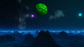Pianeta ed UFO verdi nel cielo di un pianeta fantastico illustrazione di stock