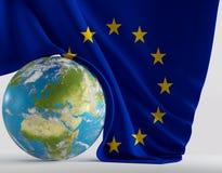 Pianeta Europa del mondo con la bandiera europea 3d-illustration elementi Immagini Stock Libere da Diritti