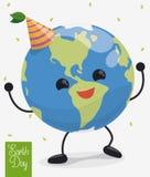 Pianeta felice di dancing nella celebrazione di giornata per la Terra, illustrazione di vettore Immagine Stock