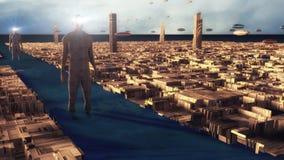 Pianeta futuristico dello straniero e della città illustrazione vettoriale