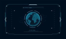 Pianeta futuristico sullo schermo dell'obiettivo del pannello di controllo Interfaccia di fi di sci di concetto per vr ed i video Immagine Stock