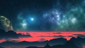 Pianeta luminoso della stella, della nebulosa e dello straniero royalty illustrazione gratis
