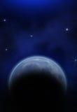 Pianeta, luna e stelle Fotografia Stock