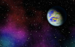 Pianeta misterioso e sconosciuto nell'universo Vita fra le stelle Immagine Stock