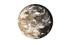 Pianeta morto della roccia scura con atmosfera nello spazio isolato su bianco fotografie stock libere da diritti