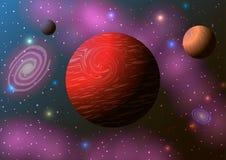 Pianeta, nebulosa e stelle rossi nello spazio Immagine Stock Libera da Diritti