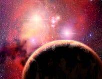 Pianeta nel sistema della stella binaria Immagine Stock