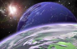 Pianeta nello spazio nel cielo della stella Fotografie Stock