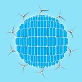 Pianeta, pannelli solari, generatori eolici generalizzanti le energie pulite Fotografia Stock