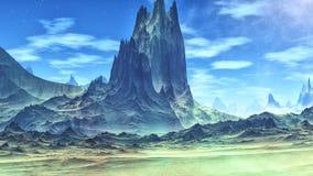 Pianeta più sconosciuto Rocce e deserto rappresentazione 3d illustrazione di stock
