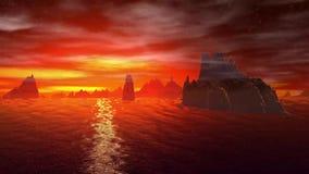 Pianeta più sconosciuto Rocce e lago animazione 4К archivi video