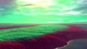 Pianeta più sconosciuto Rocce e pioggia animazione 4К stock footage