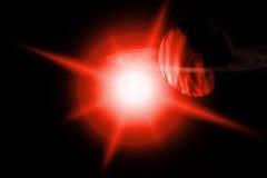 Pianeta rosso del chiarore galattico con gli anelli royalty illustrazione gratis