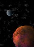 Pianeta rosso e luna che orbitano nell'universo & nel x28; 3D illustration& x29; Immagini Stock