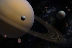 Pianeta Saturn con i suoi satelliti nello spazio Fotografia Stock Libera da Diritti