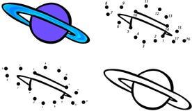 Pianeta Saturn ed i suoi anelli Illustrazione di vettore Coloritura e d Fotografia Stock