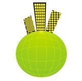 Pianeta solare nella vicinanza con una vita di città Immagini Stock Libere da Diritti