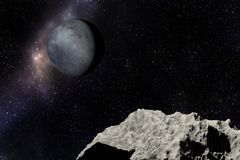 Pianeta, stelle e nebulosa sconosciuti nello spazio cosmico illustrazione vettoriale