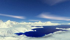 Pianeta straniero Montagna ed acqua rappresentazione 3d Immagini Stock